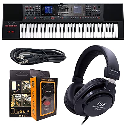Roland PK E-A7 61 Key Expandable Arranger Keyboard + ISK HP2000 Headphone  w/Free 3 5mm AUX Cable & Magnet Car Mount