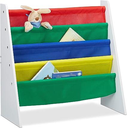 4 Scomparti,Immagini di un Fal/ò per Bimbi Relaxdays Scaffale Libreria Bambini Colorato Dimensioni HLP: 71x62x29 cm