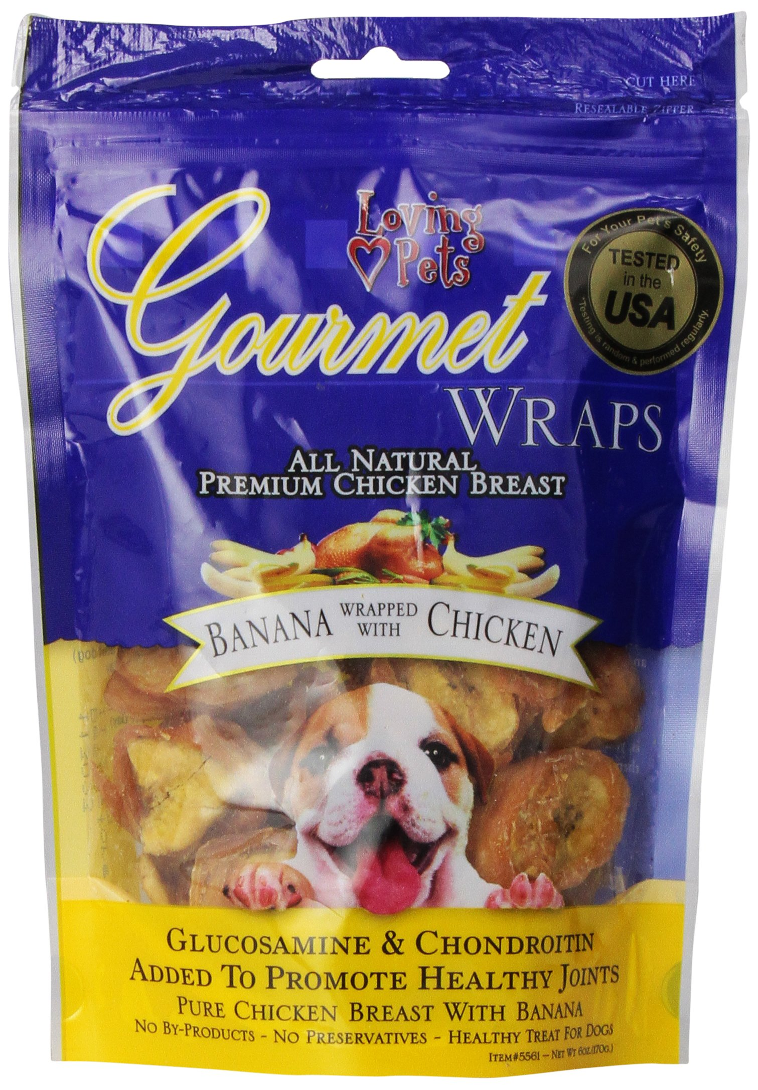Loving Pets All Natural Premium Banana and Chicken Wraps with Glucosamine and Chondroitin Dog Treats, 6 oz by Loving Pets (Image #1)