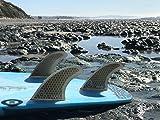 Naked Viking Surf Medium JL Thruster Surfboard Fins (Set of 3) Smoked, FCS Base