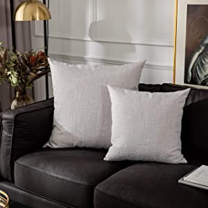 Kevin Textile Decorative Lined Linen Cushion Cover Throw Pillow Case for Bedroom, 24