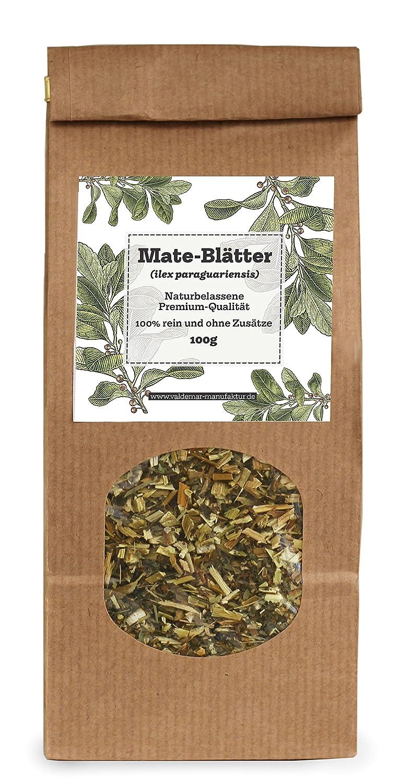 Mate de hojas (Mate té)–100g Premium de calidad y sortenrein, handverpackt. Lat. Ilex paraguariensis Valdemar Manufaktur