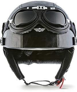 MOTO D22-Set Casco jet, diseño abierto, retro, para scooter, motocicleta