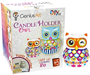 Genius Art Owl Candle Holder Painting - Arts and Crafts Kit for Kids and Adults - DIY Home Decor - Ready to Paint Ceramic for Artists