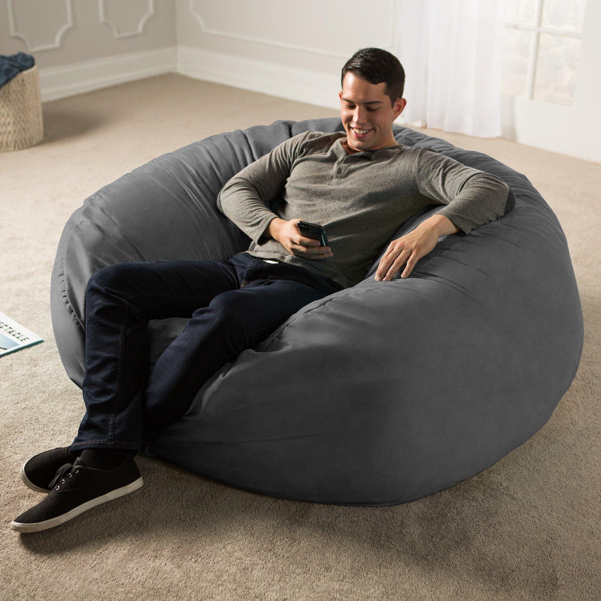 Jaxx 5 Foot Saxx - Big Bean Bag Chair for Adults, Charcoal by Jaxx