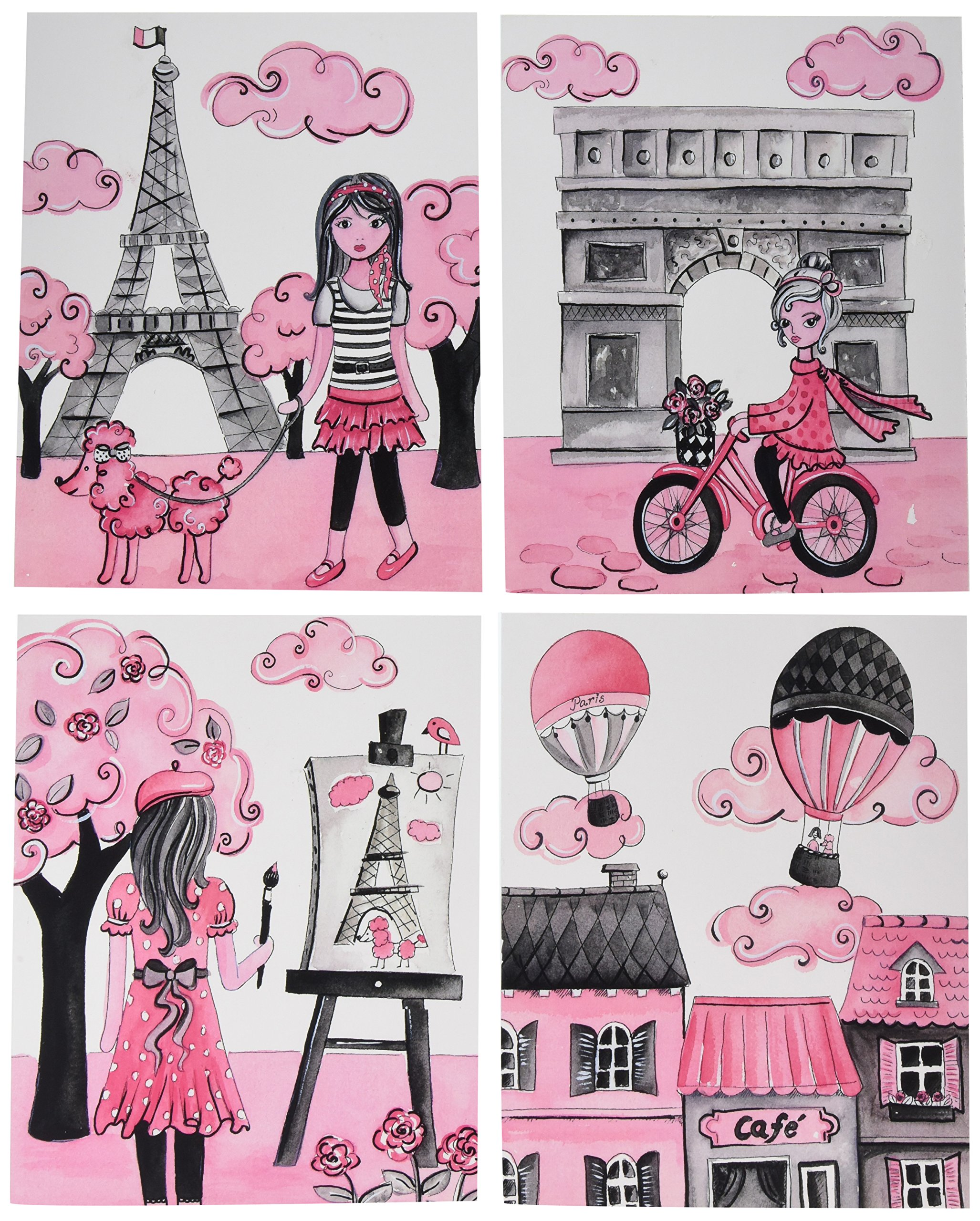 The Kids Room By Stupell 4 Piece Quadtych Wall Plaque Set, A Girl In Paris, Proudly Made in USA