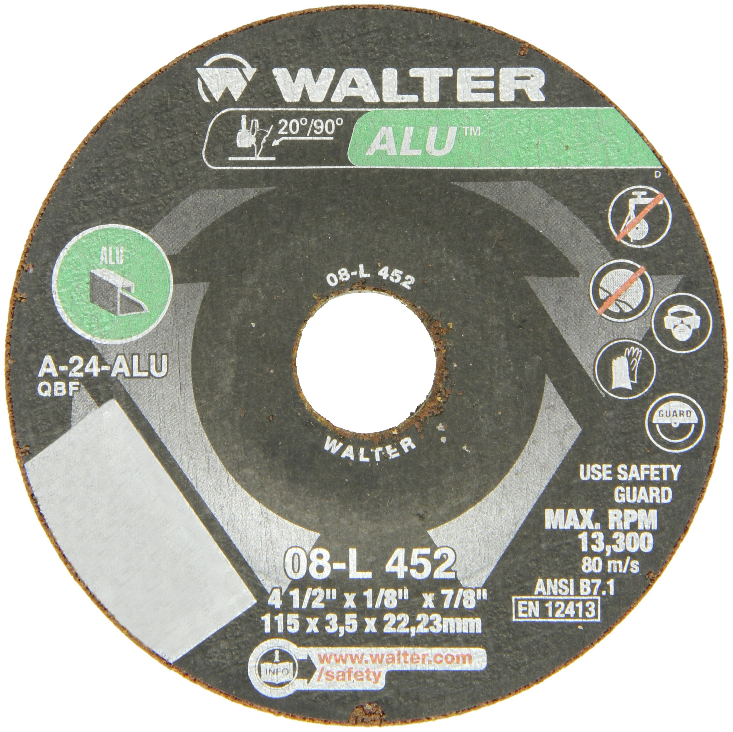 Walter Aluminum Performance Grinding and Cutting Wheel, Type 27, Round Hole, Aluminum Oxide, 4-1/2'' Diameter, 1/8'' Thick, 7/8'' Arbor, Grit A-24-ALU (Pack of 25)