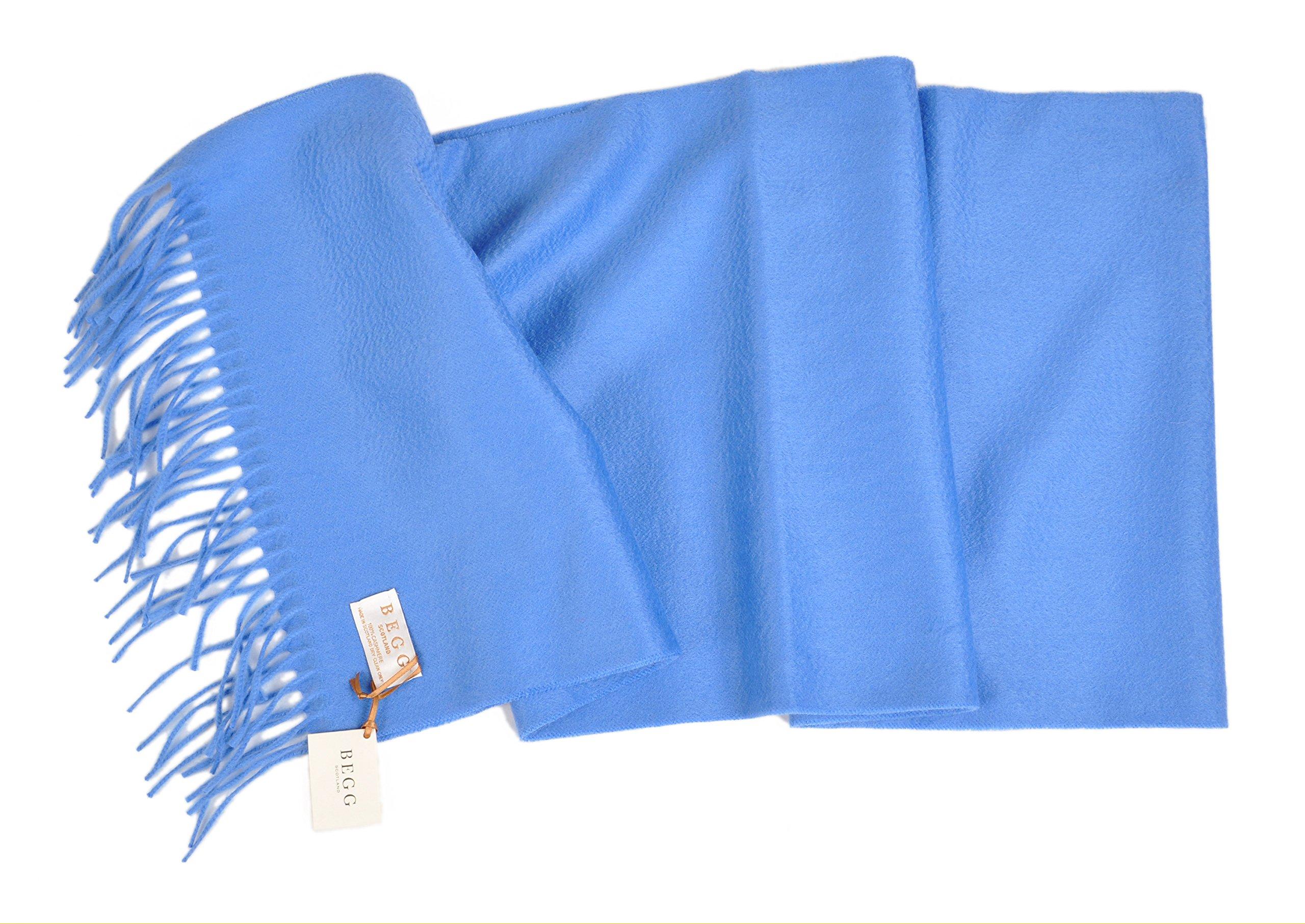 Begg-Scotland 14''x72'' Pure Luxury Cashmere Large Scarf - Azure