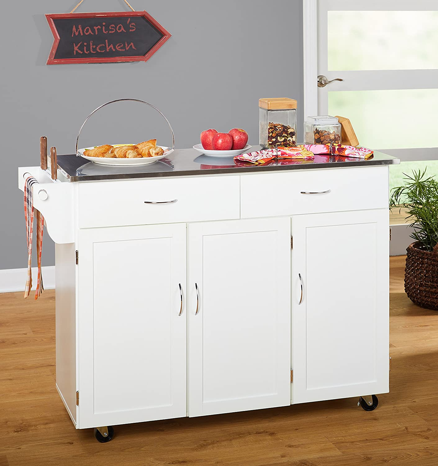 Amazon.com - Target Marketing Systems 60049WHT Kitchen XL Cart, X ...