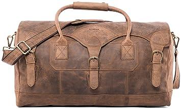 LEABAGS Elche Reisetasche aus echtem Büffel Leder im Vintage Look Fallow
