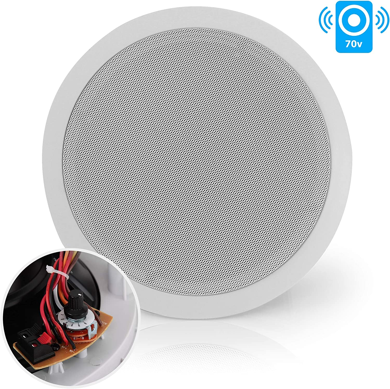 """Ceiling and Wall Mount Speaker - 8"""" 2-Way 70V Audio Stereo Sound Subwoofer Sound with Dome Tweeter, 600 Watts, in-Wall & in-Ceiling Flush Mount for Home Surround System - Pyle PDIC83T (White)"""