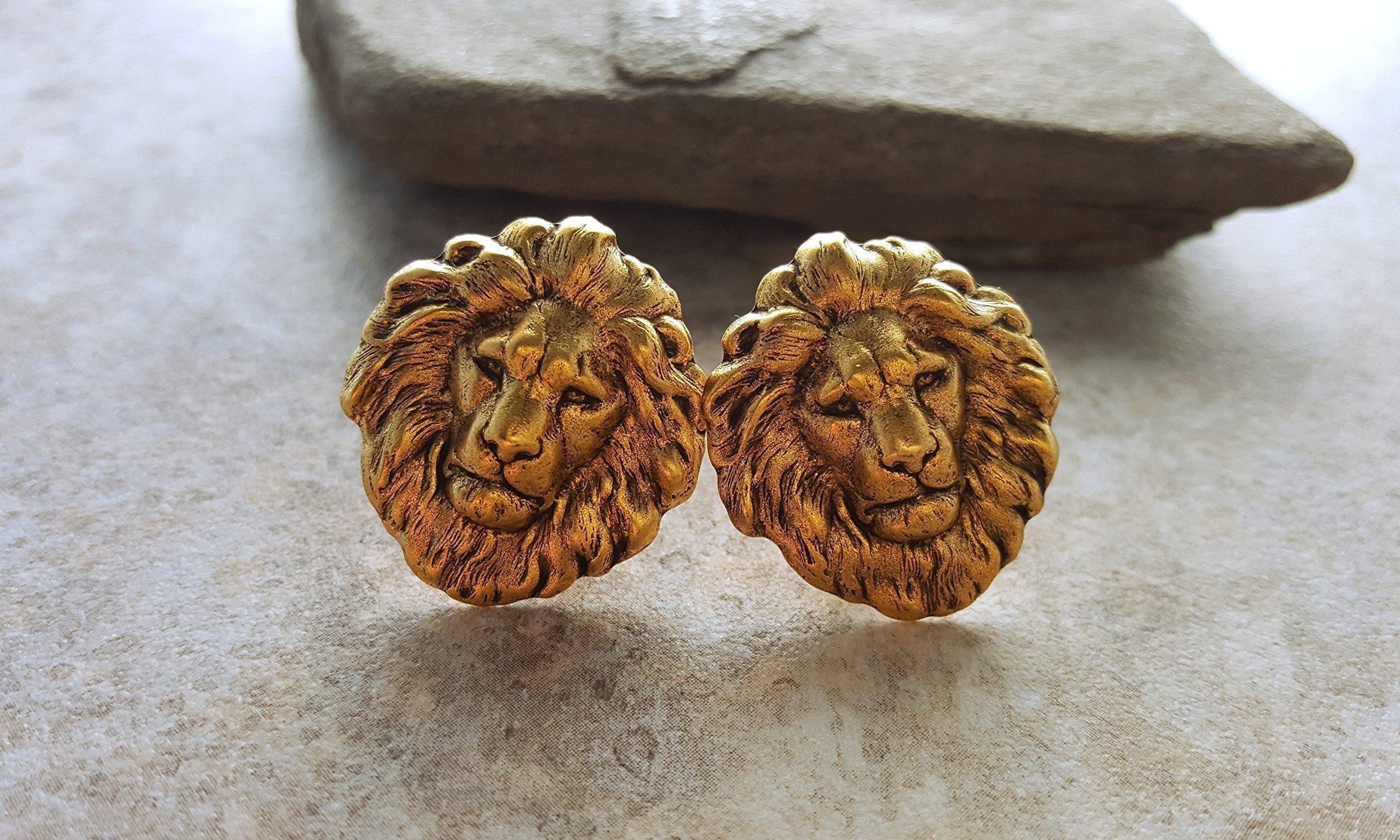 Handmade Oxidized Gold Lion Cuff Links