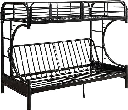 Amazon Com Acme Furniture Bed Twin Top Bunk Over Full Futon Bottom Bunk Black Furniture Decor