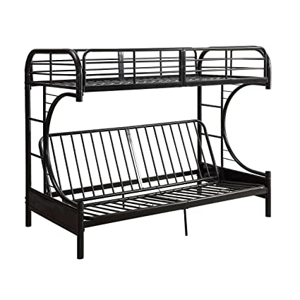 acme furniture 02091w bk eclipse twin over full futon bunkbed black twin amazon    acme furniture 02091w bk eclipse twin over full futon      rh   amazon