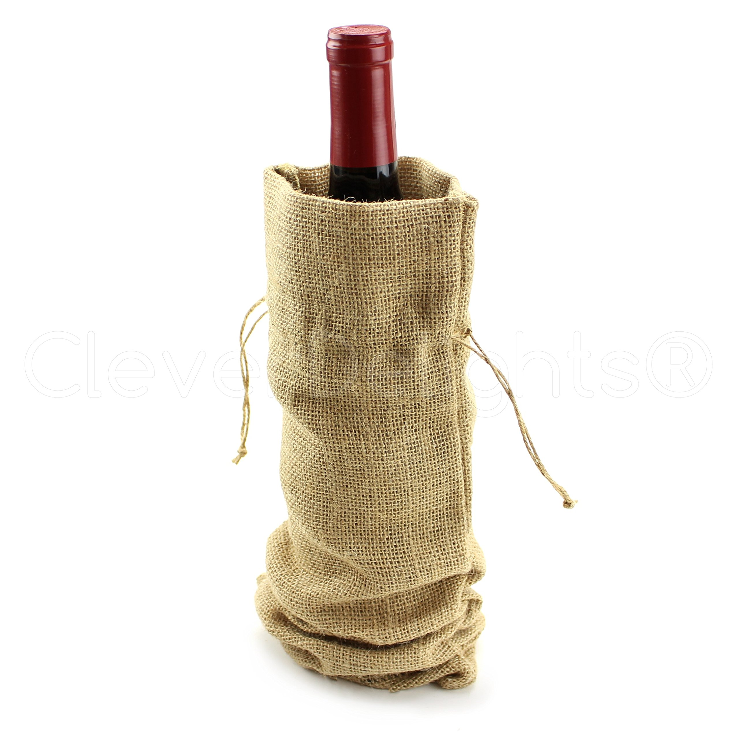 5 Pack - CleverDelights 14'' Burlap Wine Bags with Drawstrings - 100% Natural Jute Burlap - 14'' x 5''
