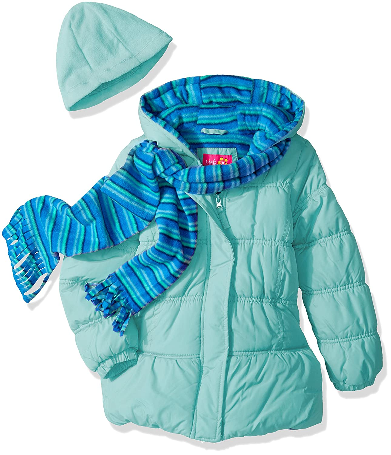 Pink Platinum girls Stripe Puffer With Hat and Scarf 94528