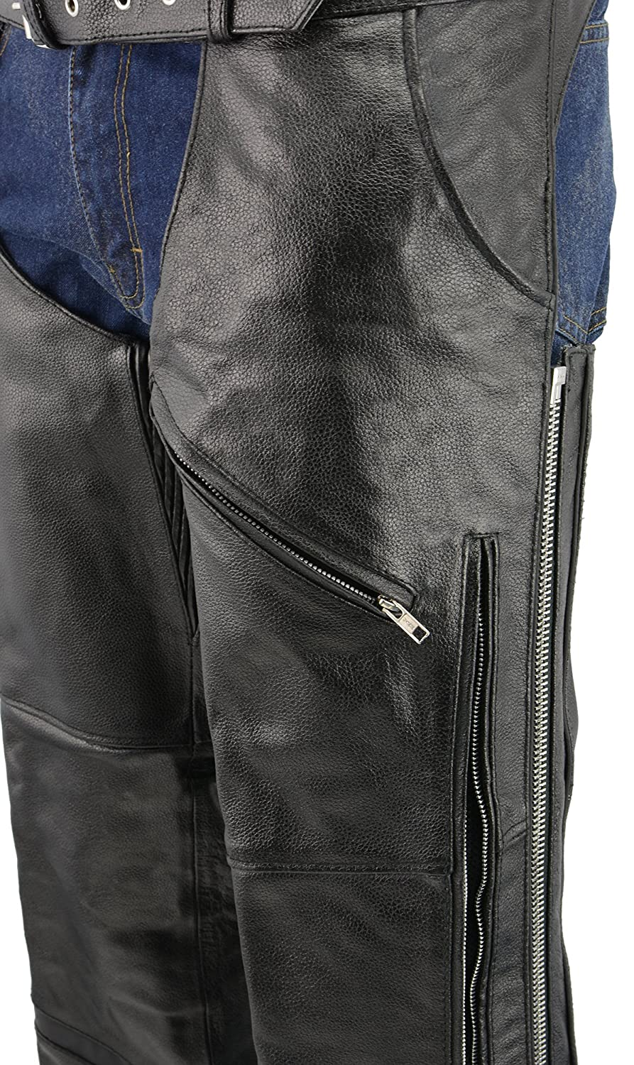 M-BOSS MOTORCYCLE APPAREL-BOS15502-BLACK-Men/'s jean style vented and reflective leather chaps.-BLACK-X-LARGE