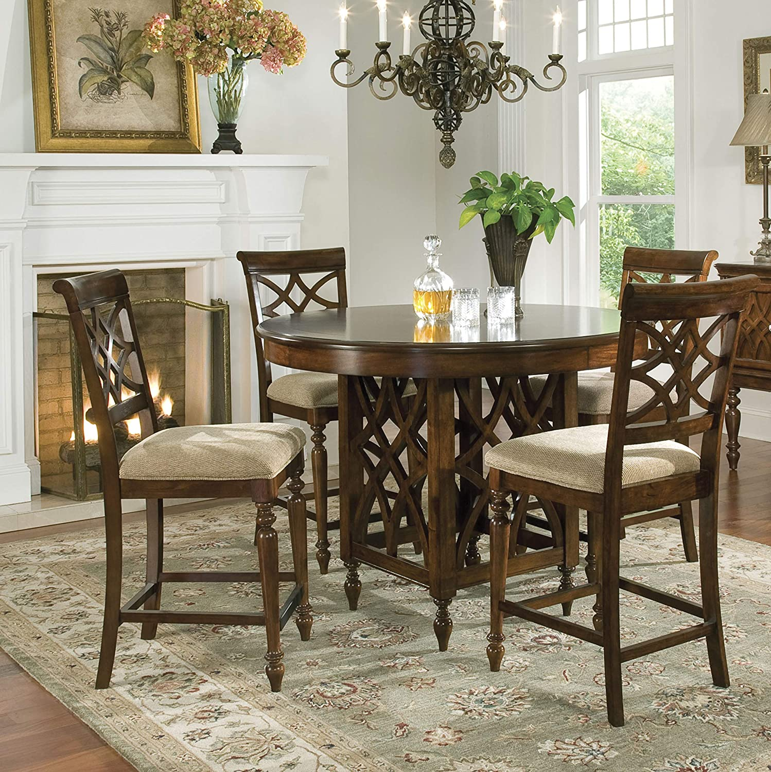 FurnitureMaxx Windfield Rich Brown Cherry Finish Counter Height Dining Set with Table and 4 Chairs