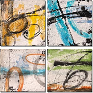 Yihui Arts 4 Panel Abstract Oil Painting Hand Painted Canvas Wall Art Pictures for Living Room Bedroom Bathroom Decoration