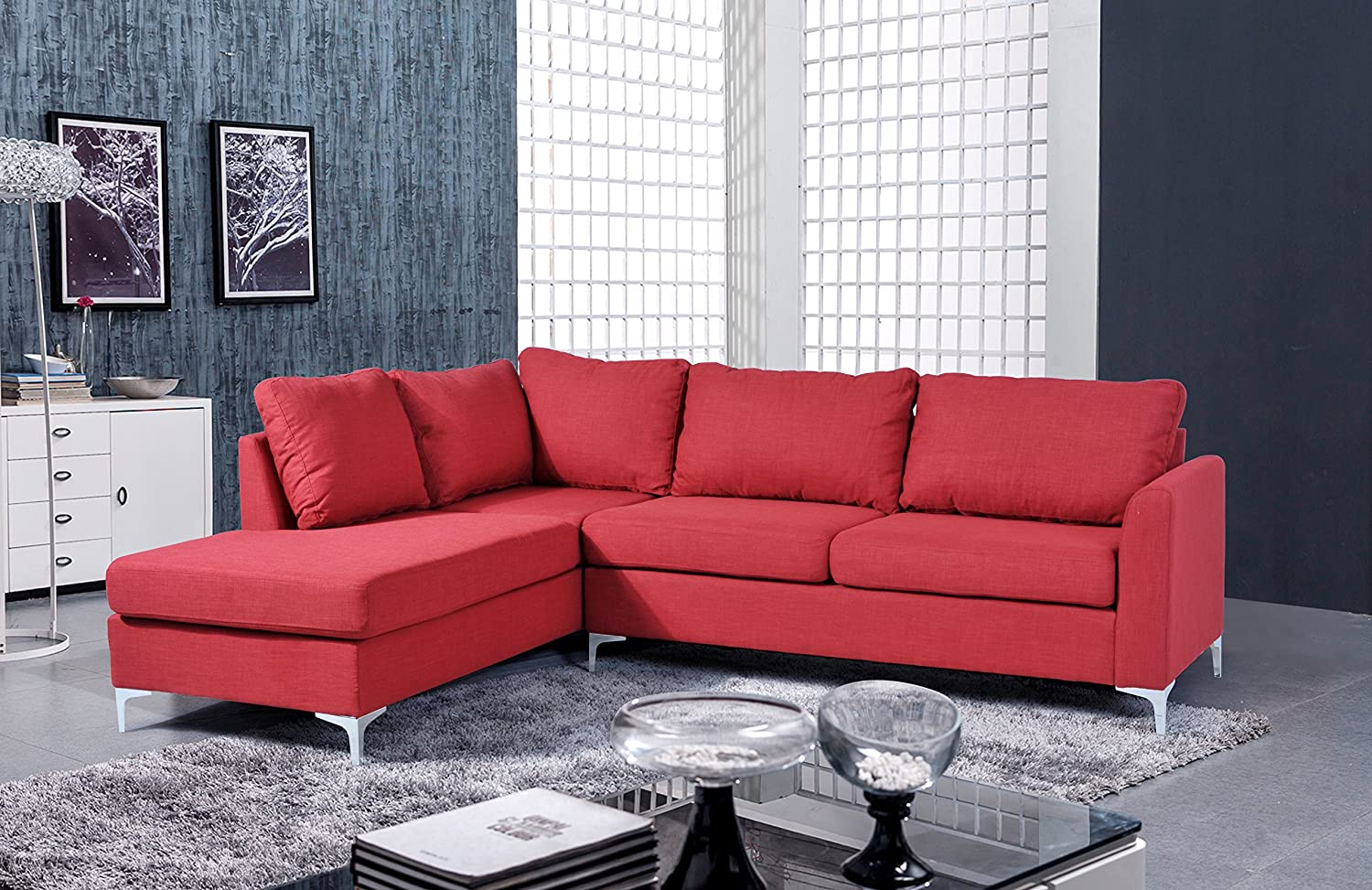 Stupendous Nhi Express Landon Reversible Sectional Sofa Red Ibusinesslaw Wood Chair Design Ideas Ibusinesslaworg
