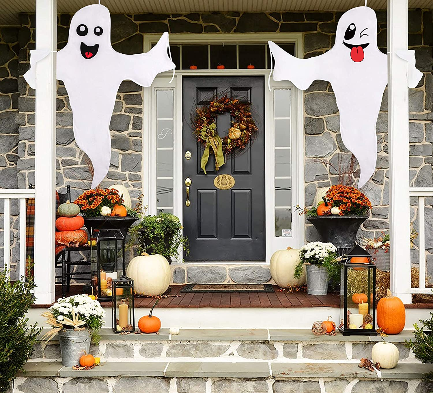 Large Hanging Outdoor Halloween Decorations.Halloween Ghost Hanging Decoration Outdoor Decor Hallowmas Tree Hugger Friendly Spooky Party Supplies 2 Pieces Amazon In Garden Outdoors