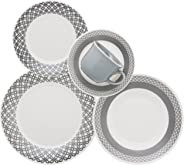 Aparelho de Jantar Chá 20 Peças Biona Rendeira Branco/Cinza