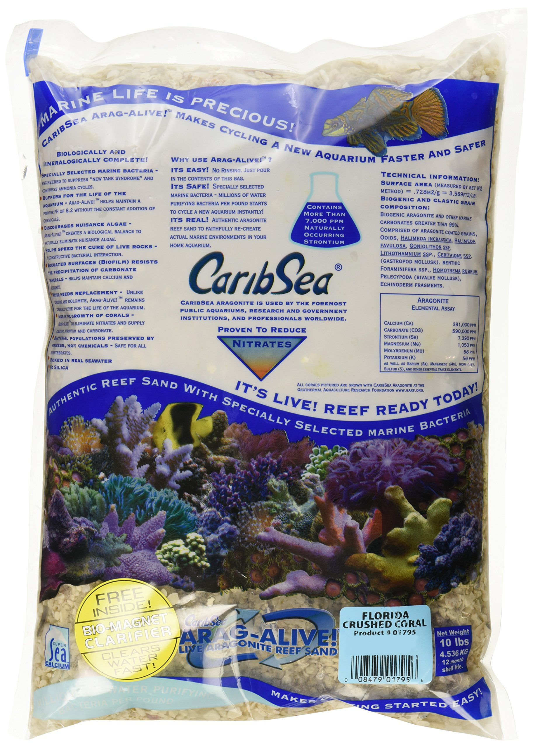 CaribSea Aquatics Arag-Alive Crushed Coral, 10-Pound by CaribSea Aquatics