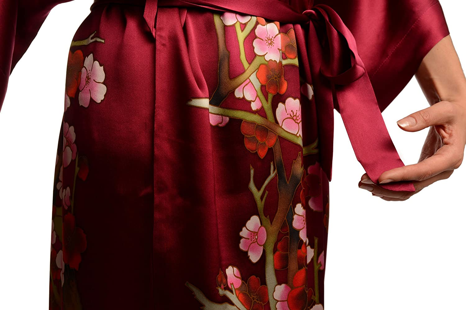 411820f12e Burgundy With Sakura Bloom Luxurious Silk Dressing Gown (Robe) - Red Floral  Dressing Gown  Amazon.co.uk  Clothing