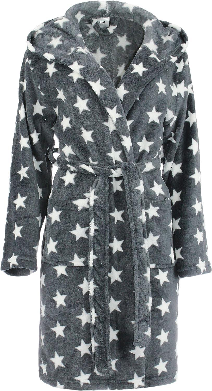 Brandsseller Albornoz para Mujer con Capucha Bata de baño para Ducha,Playa y Baño - Estrellas - Color: Gris/Blanco - tamaño: S/M - L/XL