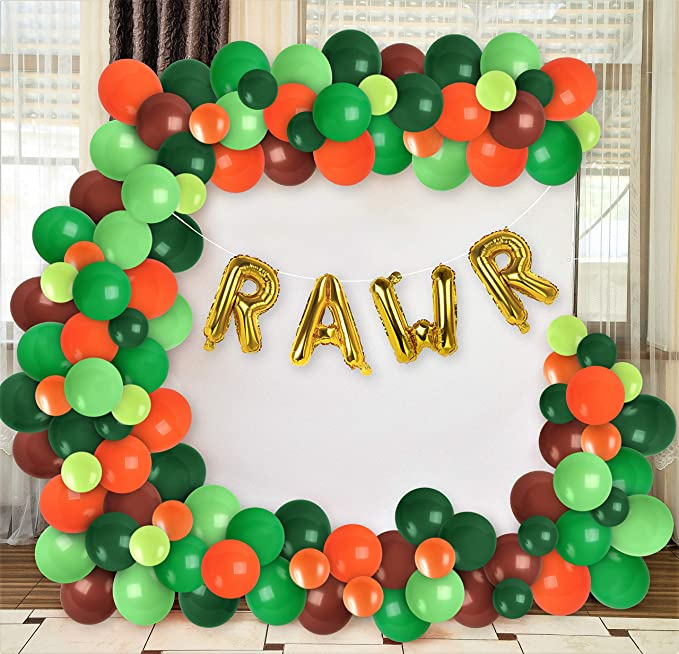 Treasures Gifted Dinosaur Jungle Decoration Green Gold Balloon Garland Kit Orange Brown Green Balloons Arch Gold Rawr Foil Balloon Banner Dinosaur Birthday Jungle Baby Shower Party Supplies