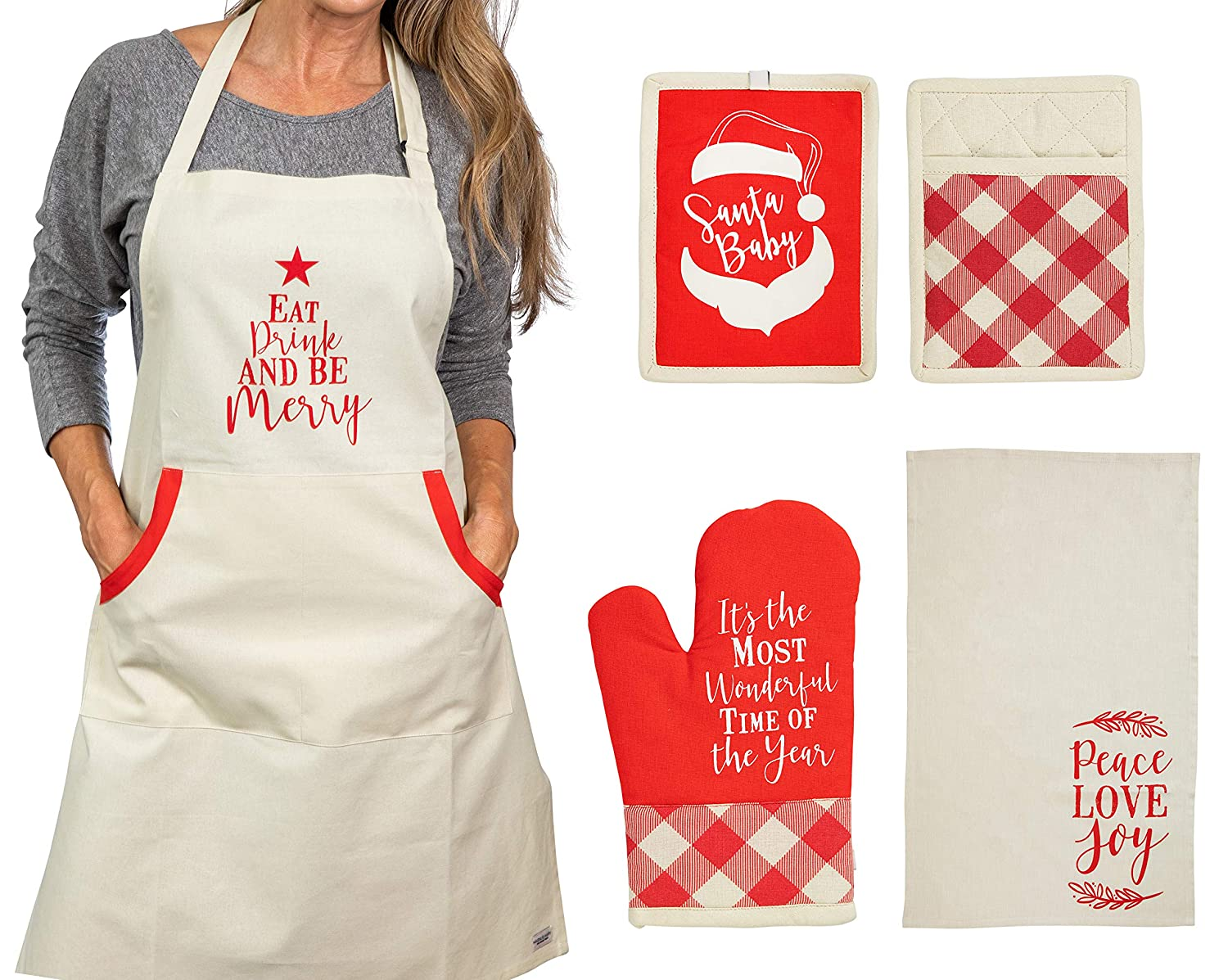 "Christmas Apron With Pot Holder, Oven Mitt and Kitchen Towel, Perfect Holidayfor Mother, Sister, Aunt, Mother In Law"", Chrismas Kitchen Combo"