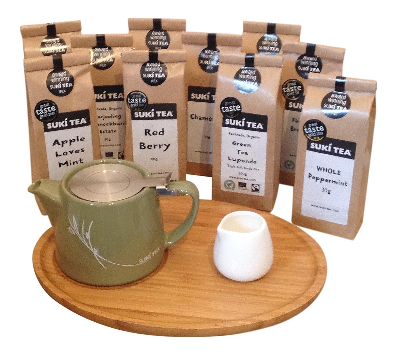 Olive Green Suki Forlife 18oz Stump Loose Leaf Teapot with Bamboo Tray, Creamer & Suki Tea (100g Breakfast Tea)