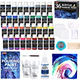 Acrylic Pouring Paint, Shuttle Art Set of 36 Bottles (2 oz/60ml) Pre-Mixed High-Flow Acrylic Paint Pouring Supplies with…