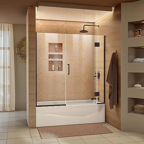 DreamLine Unidoor-X 58-58 1 2 in. W x 58 in. H Frameless Hinged Tub Door in Oil Rubbed Bronze, D58580-06