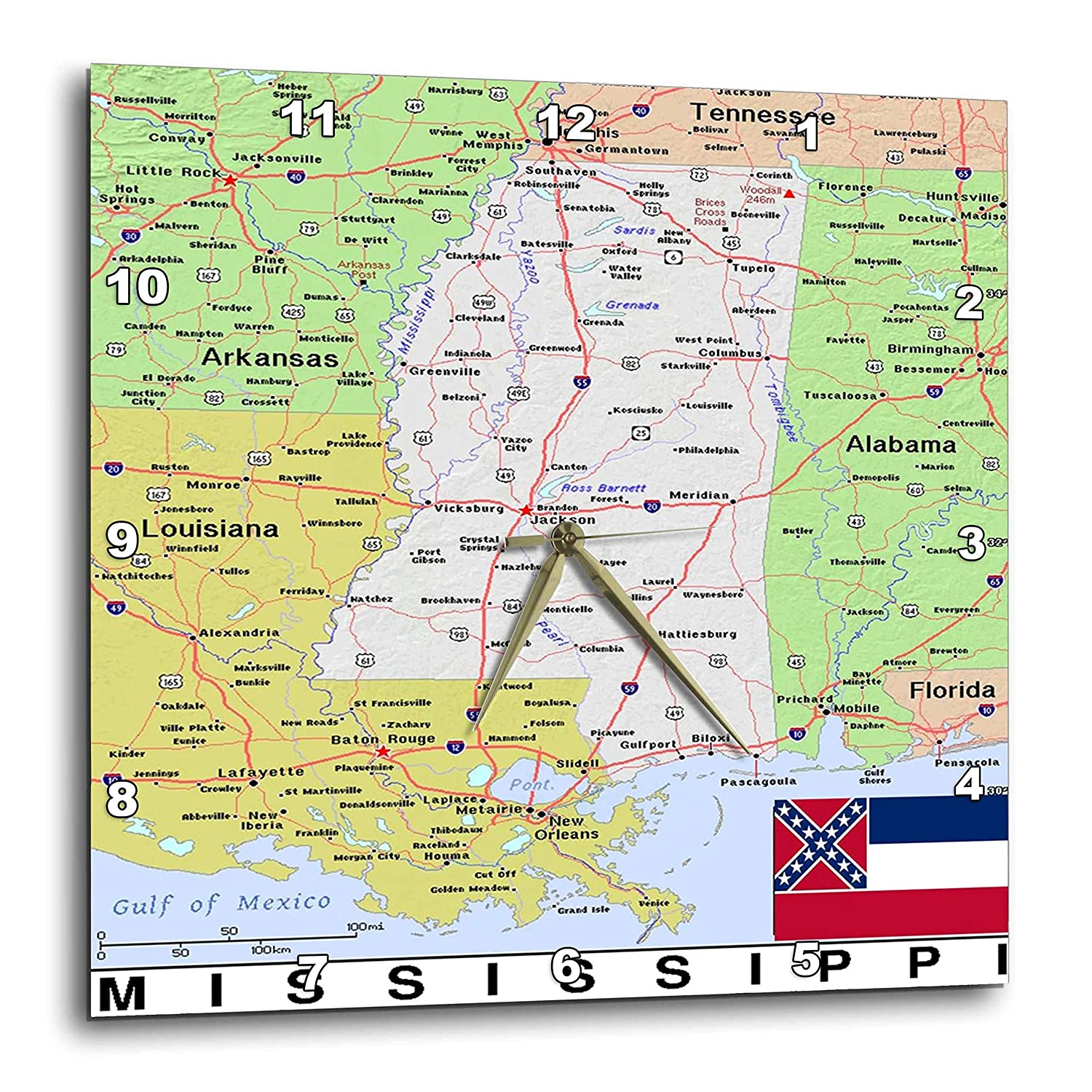 Topographic Map Mississippi.Amazon Com 3drose Lens Art By Florene Topo Maps Flags Of States