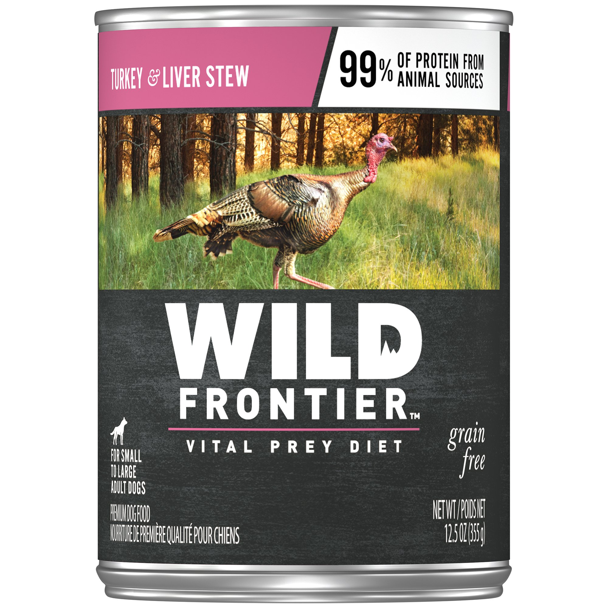 Nutro Wild Frontier Grain Free Adult Canned Wet Dog Food Chunks In Gravy Large Bird Recipe Turkey Stew With Nutrient Rich Liver, (12) 12.5 Oz. Cans by Wild Frontier Wet Dog