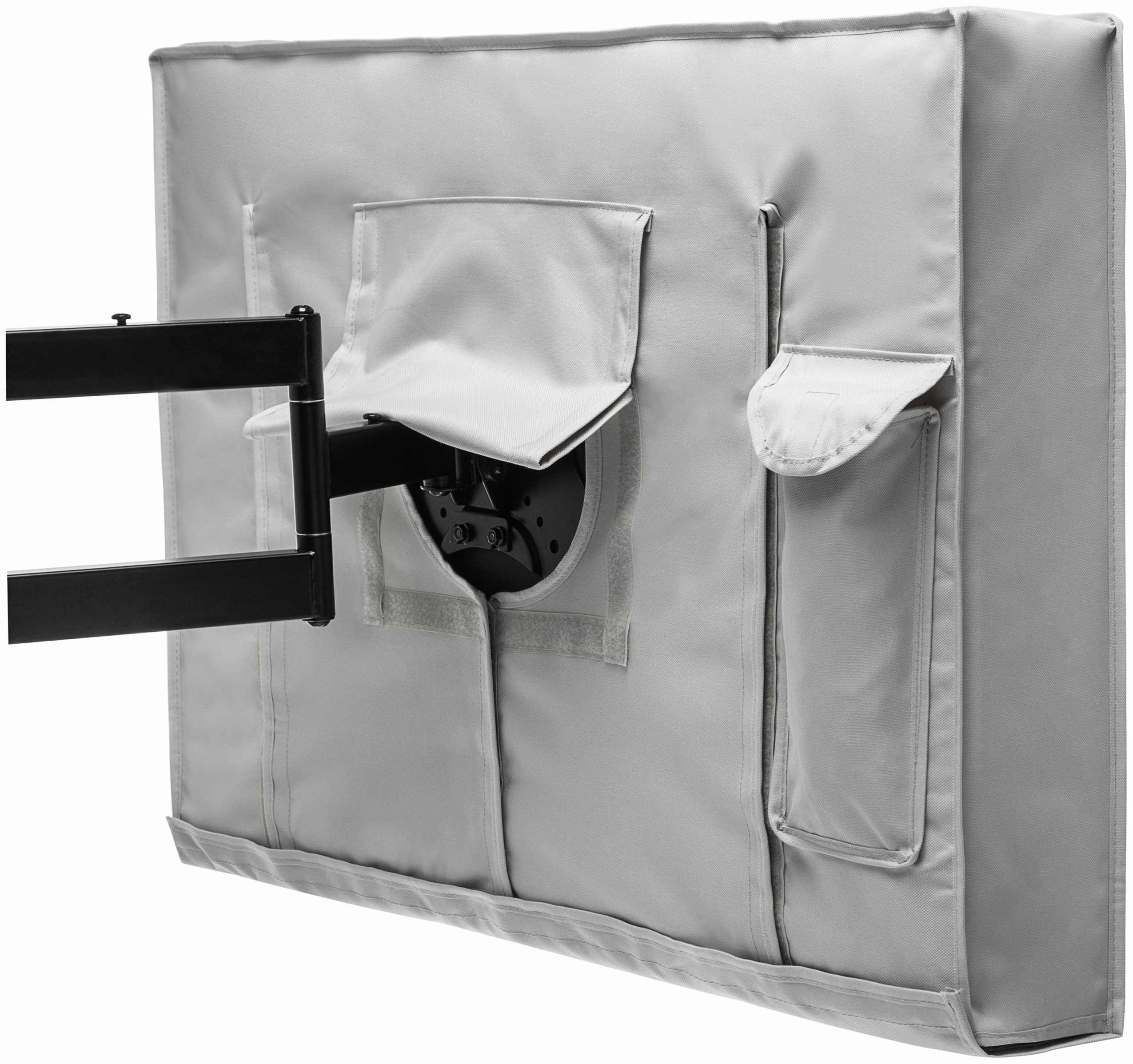 Outdoor TV Cover 52'' - 55'' Gray Weatherproof Universal Protector for LCD, LED, Plasma Television Screens. Built in Bottom Cover and Remote Storage. Compatible with Standard Mounts and Stands. by Stronghold Accessories