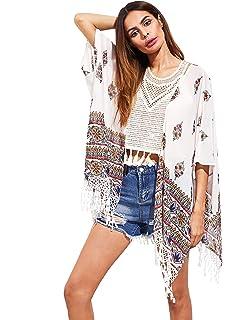 72509140e3d18 SweatyRocks Women s Tassel Kimono Fringe Cardigan Beachwear Cover up