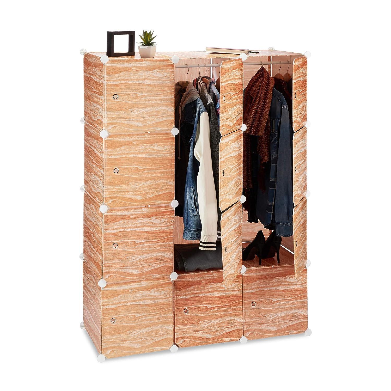 Relaxdays Kleiderschrank Stecksystem, 8 Fächer, Kunststoff, Türen, Kleiderstangen, Garderobenschrank 145 hoch, Holzoptik