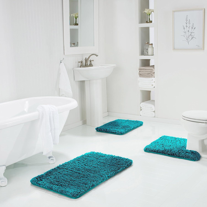 21 X 34 Washable Bathroom Rug Water Absorbent Washable Bathroom Rug Genteele Non-Slip Memory Foam Shaggy Bathroom Mat Super Plush Bath Mat 21 X 34, Gray