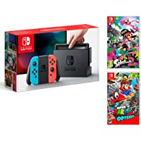 Nintendo Switch console Rouge/Bleu Néon 32Go + Super Mario Odyssey + Splatoon 2