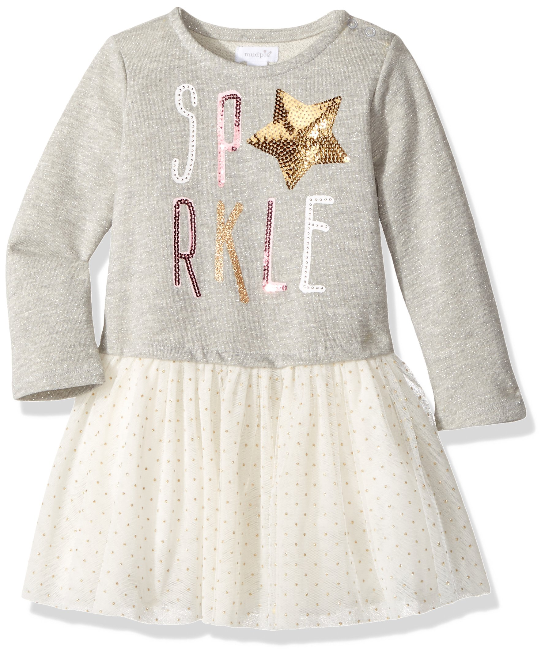 Mud Pie Baby Girls' Toddler Holiday Sparkle Long Sleeve Glitter Tutu Dress, Gray, 2T by Mud Pie