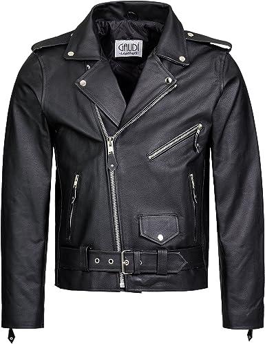 Gaudi-leathers Mens Leather Jacket Motorbike Motorcycle Biker Chopper Brando Style in Black