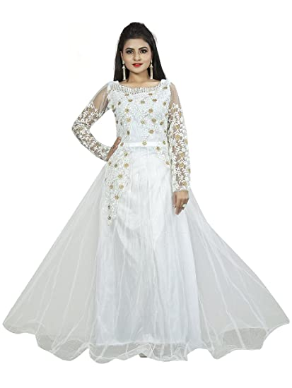 Buy Smartshop Women S Net Embroidery Semi Stitched White Gown At