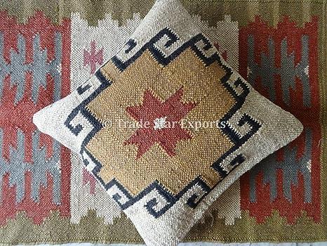 Boho Throw Pillow Cases TS-CC-330 Decorative Pillows Jute Outdoor Cushions Trade Star Exports Kilim Pillow Indian Cushion Cover 18x18