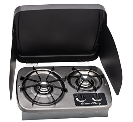 Martin SG-228 Propane Hot Plate Cooking Stove Double Cooktop 25,600 BTU Powered Brass Burner with Pressure Regulator