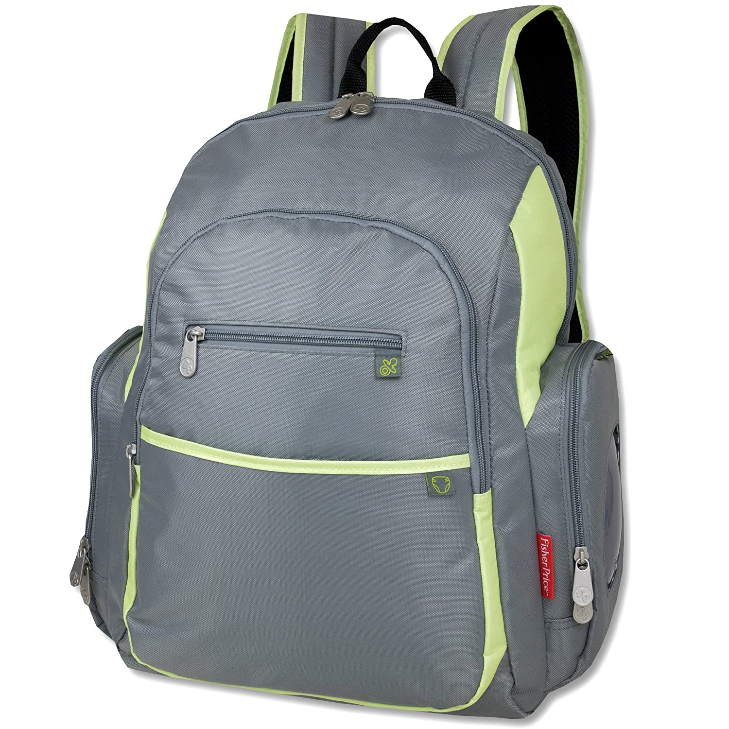 150b7aa200e8 Amazon.com   Fisher Price Backpack Diaper Bag - Fastfinder Colorblock in  Grey Orange   Baby