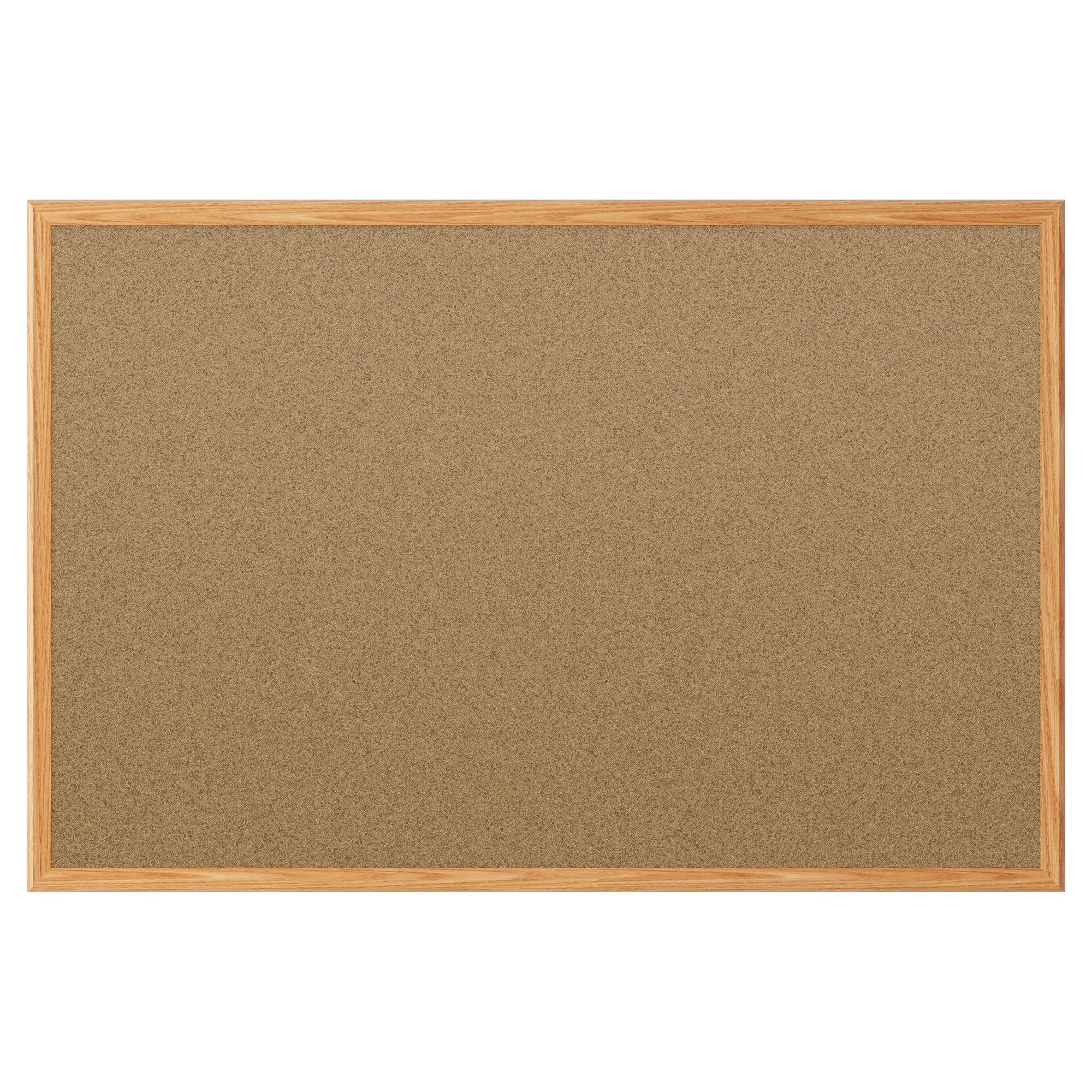 Mead Classic Cork Bulletin Board, Cork Board, 8' x 4',  Oak Finish Frame (85369)