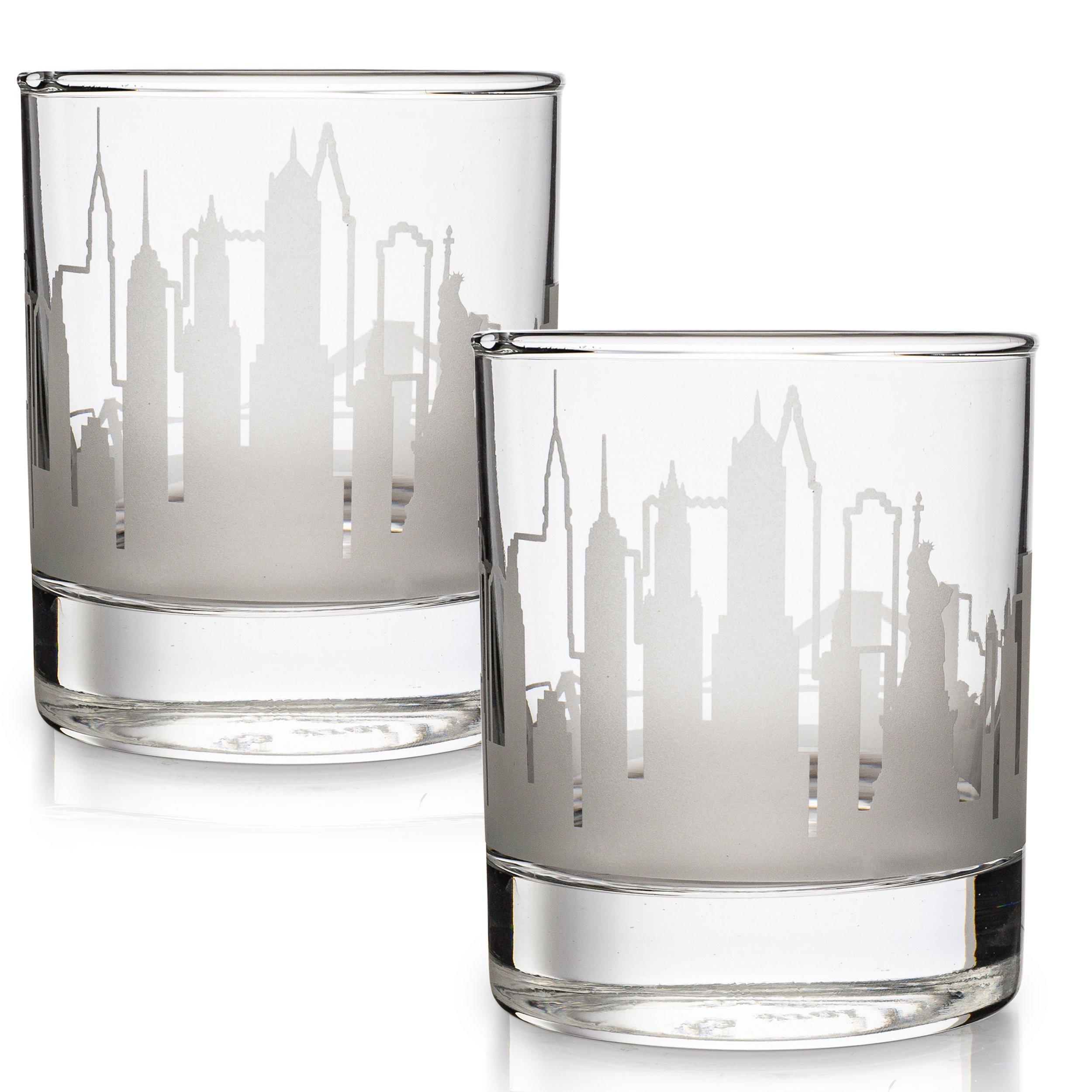 Etched New York Whiskey Glasses Gift Set | 2 Skyline Old Fashioned Tumblers - New York City, NY