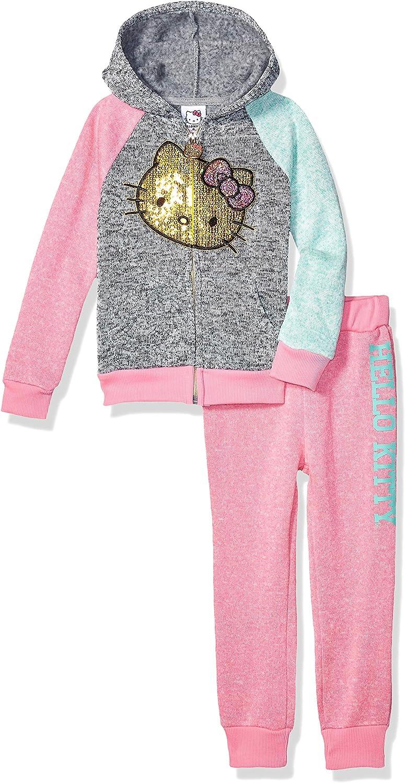 Hello Kitty Infant Toddler Girls 2 PC Gray Fleece Hoodie Jacket Pants Set